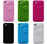 3D Rose Pattern Silicon Rubber Soft Case for iPhone 4/4s(Assorted Colors)