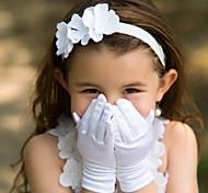 До запястья С открытыми подушечками пальцев Перчатка Сатин Детские нарядные перчатки Весна Лето Осень Зима