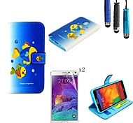 patrón de pesca de la PU cuero caso de cuerpo completo con lápiz táctil y la película protectora 2 piezas para Samsung Galaxy Note 3