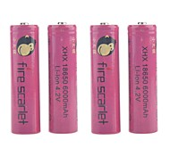 Fire Scarlet 6000mAh 18650 Rechargeable Lithium Ion Battery(4pcs)