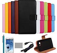 coco Fun® ultra slim einfarbig Tasche aus echtem Leder mit Film, Kabel und Stylus für samsung galaxy Trend Plus s7580