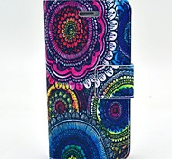The Kaleidoscope Of Flowers Pattern PU Leather Full Body Case with Card Slot and Stand for iPhone 4/4S