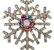 Wedding Bridal Colorful Brooch Pin Crystal Rhinestone Large Snowflake Winter snow Theme