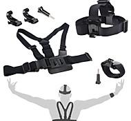 accesorios GoPro 4 en 1 kit de correa de pecho + j-gancho montan + correa para la cabeza + correa de muñeca para GoPro 1 2 3 4 3+ sj4000