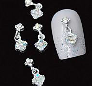 10pcs  Silver Pendant 3D Colorfull Rhinestone DIY Alloy Accessories Nail Art Decoration