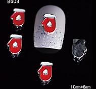 10pcs Beauty Xmas Glove 3D Alloy Nail Rhinestone DIY Nail Art Decoration