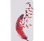 Beautiful Red Feather Design PU Leather Full Body Case with Stand for Sony Xperia T3