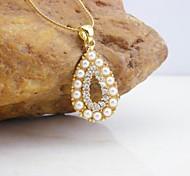 18K Golden Plated Pearl Zircon Drop Pendant Necklace