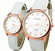Couple's Round Dial PU Band Quartz Fashion Watch (Assorted Colors)