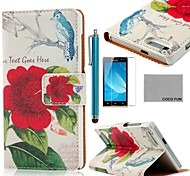 COCO FUN® Red Floral Pattern PU Leather Case with Screen Protector and Stylus for Huawei Ascend G6