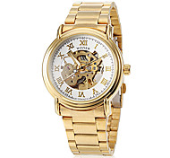 Men's Roman Numbers Hollow Dial Gold Steel Band Automatic Self Wind Wrist Watch (Assorted Colors)