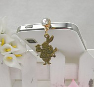 Fashion Delicate RabbitShape Alloy Diamante Anti-dust Plug for Universal Mobile Phone