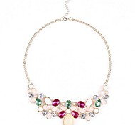 Retro Baroque Candy Colors Short Section Alloy Droplets Necklace(1Pc)