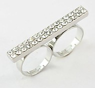 Fashion Rhinestone Double Ring Random Color