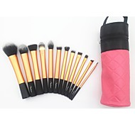 12pcs Professional Makeup Brush Set with Pink Cylinder Bag