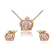 Noble And Elegant 18K Rose Gold Plated Austria Crystal Crown Pendant Necklace Earrings Jewelry Set