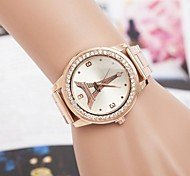 Women's Fashion Rhinestones Tower Rose Gold Steel Belt Quartz Wrist Watch