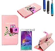 patrón de búho rosado de la PU cuero caso de cuerpo completo con lápiz táctil y la película protectora 2 piezas para Samsung Galaxy Note 3
