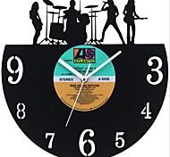 """style rétro lp mur bricolage horloge acrylique avec couvercle lp terminé 12 """"(30cm), la conception de la musique"""