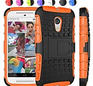 Two-in-One Tire Grain Design PC and Silicone Case with Stand for Motorola Moto G2/XT1063 (Assorted Colors)