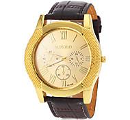 Men's Gold Case Leather Band Quartz Dress Watch (Assorted Colors)