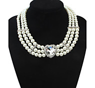 Z&X®  Luxurious Imitation Pearl Heart Shaped Gem Pendant Necklace (3 Colors Options: White, Blue, Red)