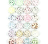 24PCS Snowflake Nail Art Glitter Powder Nail Art Foil Powder Arylic Powder for Nail Decorations