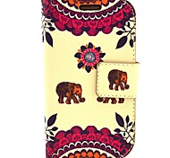 Kiss The Baby Elephant Pattern PU Leather with Case and Card Slot for Samsung S3 Mini I8190