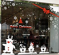 Christmas Decoration Snowman Pull Car PVC Window Stickers