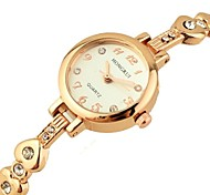 Women's Round Dial Rose Gold Alloy  Band Quartz Bracelet Watch