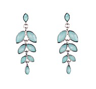 Fashion Women Resin Stone Set Leaf Earrings