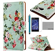 COCO FUN® Flower Green Pattern PU Leather Case with Screen Protector and Stylus for Sony Xperia M2 S50h