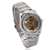 Women's Auto-Mechanical Gold Skeleton Steel Band Wrist Watch