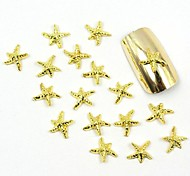100PCS 3D Gold Nail Jewelry Metal Star for False Acrylic Molds Nail Art Decorations