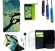 Hand Pattern PU Leather Cover with Card Slot with Touch Pen、Protective Film 2 Pcs and Headset for iPhone 5C