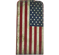 Retro US Flag Pattern Open Up and Down PU Leather Full Body Case Cover for iPhone 6