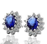 Fashion Sapphire Blue Platinum-Plated Stud Earrings (Blue)(1Pair)