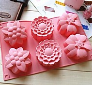 6 Hole 3 Kinds Flower Shape Cake Mold Ice Jelly Chocolate Mold,Silicone 28×17.3×3.5 CM(11×6.8×1.4 INCH)
