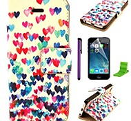 Colorful Heart Pattern PU Leather Case with Screen Protector and Stylus for iPhone 5C