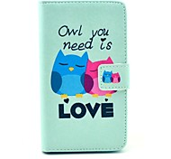 Love Owl Cartoon Pattern PU Leather Case Cover with Stand Card Holder for Sony Xperia SP M35H