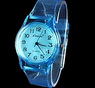 Women's Numeral Transparent Band Quartz Analog Wrist Watch