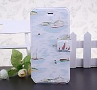 Boot und Meer Muster Ganzkörper-Ledertasche mit Ständer für iPhone 6