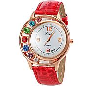 relógio de quartzo caso diamante pu moda banda analógica das mulheres (cores sortidas)