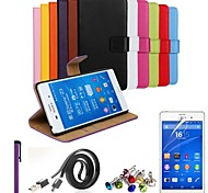 Ultra Slim Solid Genuine Leather Case with Film,Data Line,Dust Plug and Stylus for Sony Xpeira Z3 (Assorted Colors)