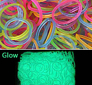 600PCS Rainbow Color Loom Fashion Loom Lominous Band(24pcs Hook,Assorted Color)