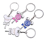 Personalized Gift Lollipop Metal Engraving Couple Keychain