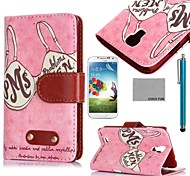 COCO FUN® Retro Pink Memony Pattern PU Leather Case with Screen Protector and Stylus for Samsung Galaxy S4 I9500