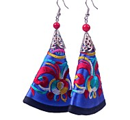 Chinoiserie (Embroidered)  Cloth Art Earrings (Blue) (1 Pair)