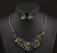 europäischen Luxus-bunte Acrylgoldlegierung Aussage Halskette (1 PC)