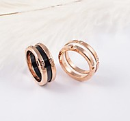 Classic Ceramic Titanium Steel Rose Gold Plated Rings